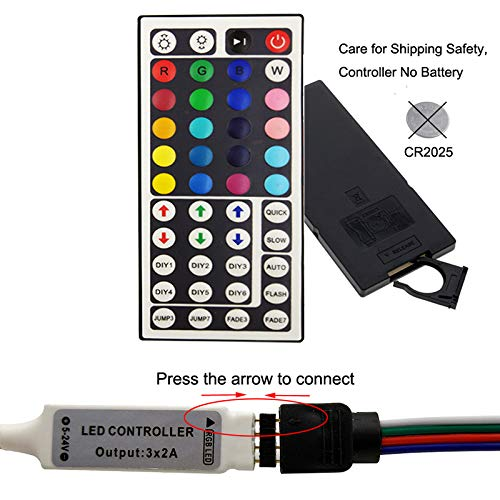 Striscia LED,5m luci led colorate RGB con 44 Tasti Telecomando y controllo app,impermeabile,per casa, cucina, festa, TV, decorazione