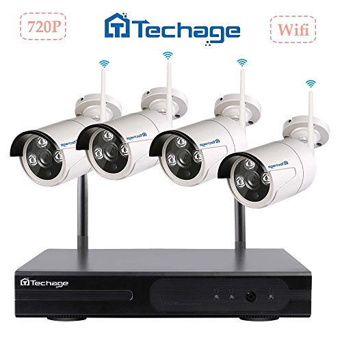 Techage Wifi Security System/ Wireless CCTV System Outdoor/ Indoor, 4CH 720P 1.0MP Waterproof IP Camera, 65ft Night Vision, Plug & Play, Home Security Surveillance Kits Without Hard (210 Indoor Network Camera)