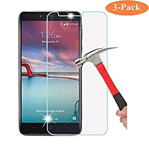 ZTE Zmax Pro Screen Protector, GreenElec [3 Pack] ZTE Carry Z981 Tempered Glass Screen Protector 0.3mm 9H Hardness Featuring Anti-Scratch Anti-Bubble No-Bubble Case Friendly by GreenElec
