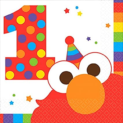 Sesame Street Elmo First Birthday Party Supplies Bundle 50 Pieces 1st Birthday Pack for 16 Guests Basic Includes Plates Table Cover and eBook Cups Napkins
