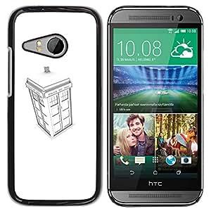 A-type Arte & diseño plástico duro Fundas Cover Cubre Hard Case Cover para HTC ONE MINI 2 / M8 MINI (Blanca stand Policía)