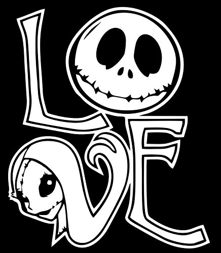 (UR Impressions Love Jack Skellington and Sally Decal Vinyl Sticker Graphics for Cars Trucks SUV Vans Walls Windows Laptop|White|5.5 X 5)
