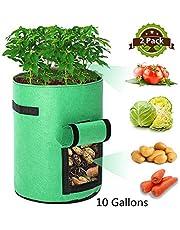 Potato Grow Bags , Tvird 2 Pack 10 Gallon Potato Growing Bags Potato Planting Bag with Flap and Handles for Potato, Tomato, Carrot (Green)