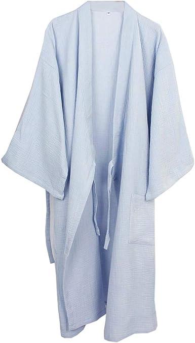 Camisón japonés para Hombre, Pijama de algodón, Pijama, camisón [Azul Claro, Talla XL]: Amazon.es: Ropa y accesorios