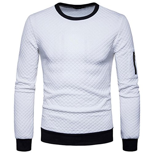 HTHJSCO Sweatshirt Tops Jacket Coat Outwear, Mens Casual Slim Fit Basic Designed Knit Pullover Sweater (White, XL) by HTHJSCO