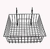 12'' x 12'' Metal Gridwall Basket w/ Hooks - Black 119073