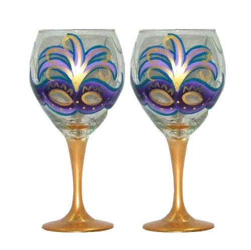 ArtisanStreet's Mardi Gras Design with Purple Mask Wine Glasses. Set of 2. Hand Painted.
