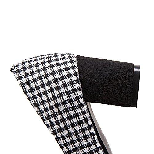 VogueZone009 Damen Ziehen auf Quadratisch Zehe Mittler Absatz Gewebe Rein Pumps Schuhe Schwarz