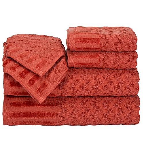 Top Lavish Home Chevron 100% Cotton 6 Piece Towel Set - Brick free shipping