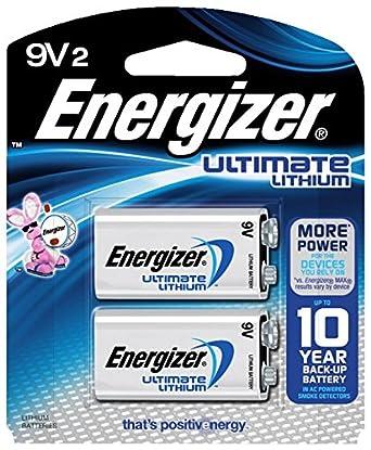 Amazon.com: Energizer l522bp2 Ultimate pilas de 9 V, batería ...
