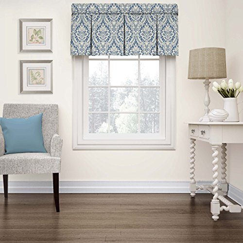 Window Damask Valance - Waverly 15422052018CRF Donnington 52-Inch by 18-Inch Box Pleat Window Valance, Cornflower