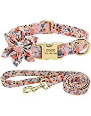 Beirui Custom Flower Girl Dog Collar and Leash Set for Female Dogs- Floral Pattern Engraved Pet Collars with Personalized Gold Buckle(Orange Pattern,S)