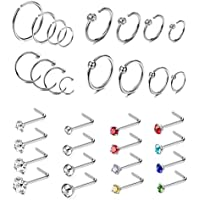 Jstyle 32Pcs Stainless Steel Nose Ring CZ Stud Ring Hoop Body Piercing for Women Girl
