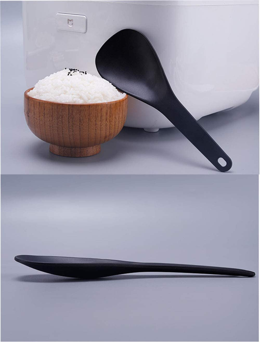 ORYOUGO 2 Pack Rice Paddle Non-sticky No Scratch Table Rice Spoon Rice Cooker Scoop Kitchen Tool,Green/&Pink
