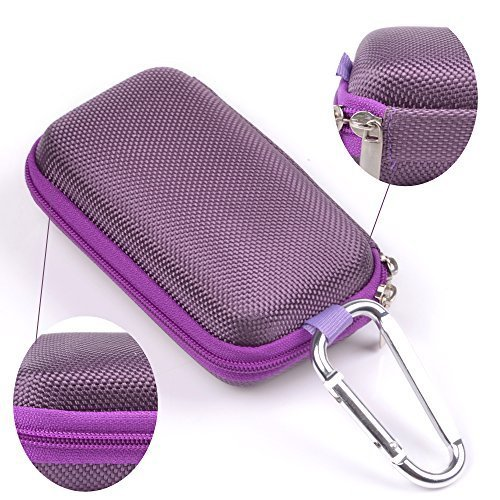 Case Star ® Rectangle-Shaped Hard EVA Case Bag and Silver Color Climbing Carabiner for Belkin Speaker and Headphone Splitter Earphone Headset MP3/MP4 Bluetooth Earbuds with Mesh Pocket, Zipper Enclos