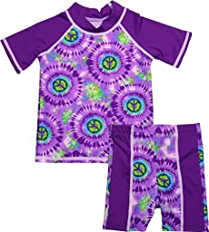 grUVywear UV Protective (UPF 50+) 2 Piece Purple Peace Set Baby Girl Swimsuit-18-24 M