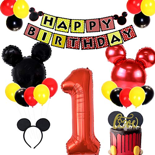Mickey Mouse 1st Birthday Party Supplies Include Banner, Number 1 Foil Balloons and Ear Headbands