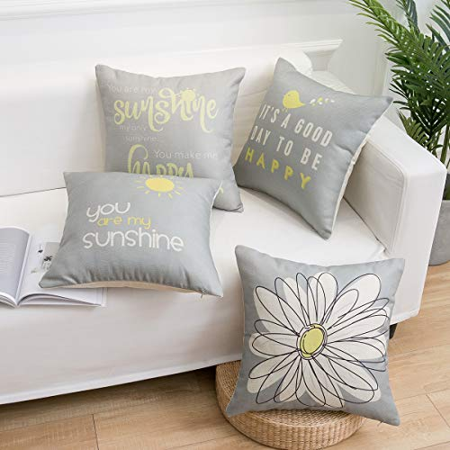 famibay Set of 4 Cotton Linen Throw Pillow Covers with Inspirational Quote Words Decorative Pillow Cases Zippered Pillowcase Home Decor for Sofa Bed Bench Car 18 x 18 Inch Gray (Pillows With Words)