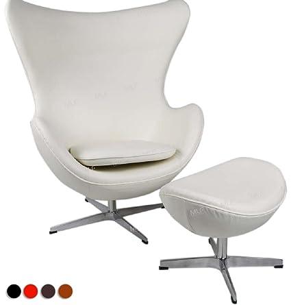 MLF Arne Jacobsen Egg Chair U0026 Ottoman In Top White/Cream Aniline Leather