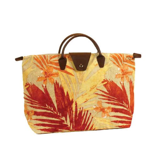 Short Handle Fold-Up Tote Bag - Palm/Rust