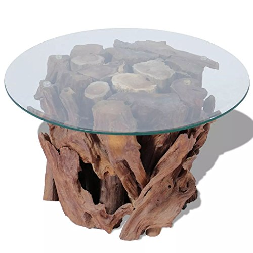 (Modern Rustic Tempered Glass Top Coffee Table with Solid Teak Driftwood Base - Includes Modhaus Living Pen)