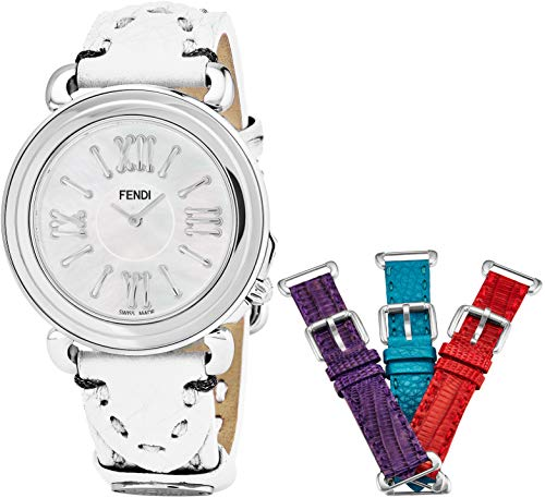 Fendi Leather White (Fendi Selleria Womens Watch Set with Interchangeable Bands - 37mm Mother of Pearl Face Swiss Dress Watch for Women - White, Purple, Blue and Red Leather Bands Analog Quartz Ladies Watch F8010345H0)