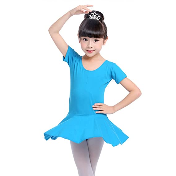 09b644509 Girls Kids Cotton Gymnastics Leotard Short-Sleeved Ballet Skirt Tutu ...