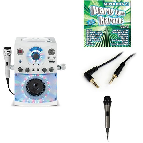 The Singing Machine SML-385W Disco Light Karaoke System (White) with Karaoke Party CD Pack, 3.5mm Stereo Adapter Bundle, and Extra Microphone