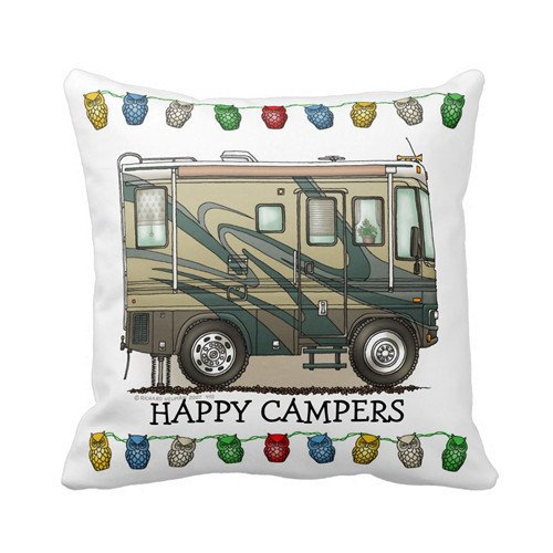 Cute Happy Camper Big RV Coach Motorhome Pillows Personalized 18x18 Inch Square Cotton Throw Pillow Case Decor Cushion Covers ()