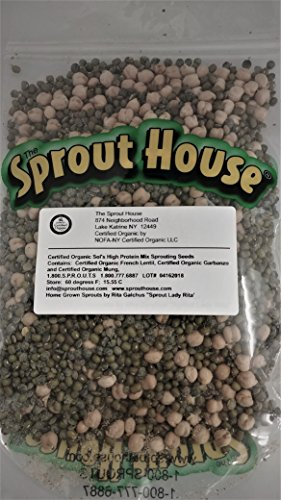 The Sprout House Sol's High Power Protein Mix 1lb Non-gmo Certified Organic Sprouting Seeds Mung Lentil Garbanzo (Best Sprouts For Protein)