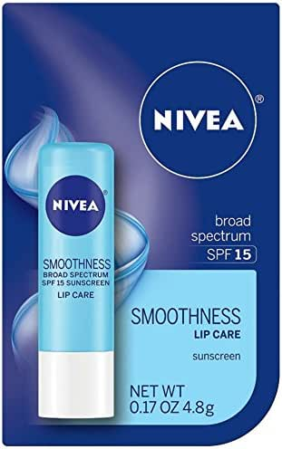 NIVEA a Kiss of Smoothness Hydrating Lip Care SPF 15, 0.17 oz (Pack of 5)