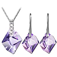 """Sunny Beach"" Purple Authentic SWAROVSKI ELEMENTS Crystal Necklace Earring Set for Women Fashion Jewelry Sets Summer Holiday Must-have -- Three Layers White Gold Vacuum Plating, Not Allergic. Swarovski's Standards, The Highest Quality for Fashion Jewelry."