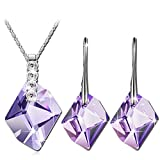 QIANSE Purple Swarovski Crystals Necklace Earrings Jewelry Set for Women Jewelry Present for Mom Wife Birthstone Birthday Gifts for Women White Gold Plated Jewelry Sets