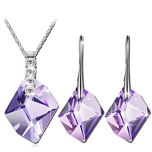 QIANSE Purple Swarovski Crystals Necklace Earrings Jewelry Set Christmas Gifts for Women Jewelry Present for Mom Wife Birthstone Birthday Gifts for Women White Gold Plated Jewelry (Crystals Necklace Jewelry)