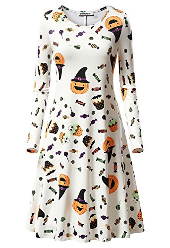 Women's Halloween Scary Bat Pumpkin Spider Smock Swing Costume Dress Funny Long Sleeve Casual Flared Midi Party (Funny Womens Halloween Costume)