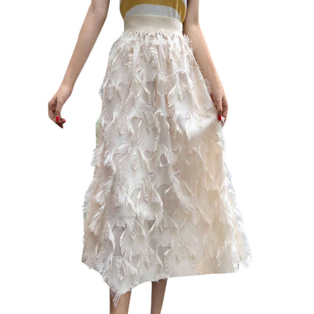 Beige Farmerl Women High Waist Pleated Ankle Length Beach Wedding Party Maxi Skirt