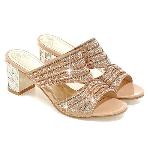 YE Damen Chunky Heels Peep Toe Pantoletten Glitzer Sandalen mit Strass und Metall Blockabsatz Elegant Modern Schuhe Gold