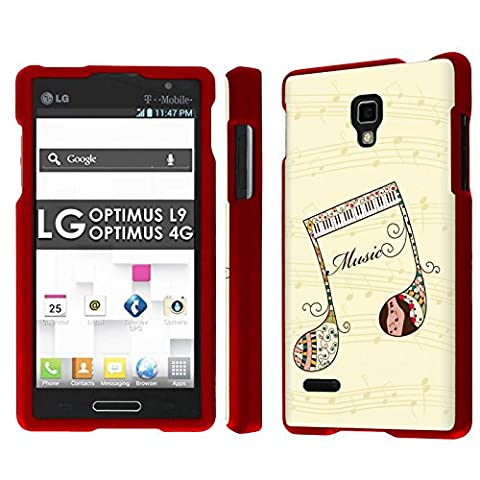 LG Optimus L9 [P769] [MS769] / Optimus 4G Total Armor Case [NakedShield] [Rose Red] Total Armor Case - [Music Key Art] for LG Optimus L9 [P769] [MS769] / Optimus (Lg L9 Music Case)