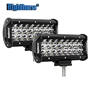 "Rigidhorse Triple Row Led Light Bar 2 Pcs 7"" 48W LED Spot Lights Off Road Lights Jeep Lights Driving Lights Led Work Light SUV Trucks Lights With Slideable Mounting Bracket"