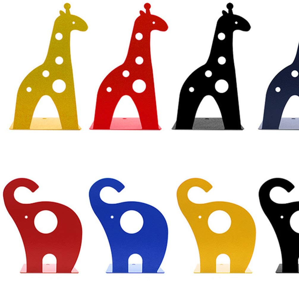 rot Garneck 2pcs Giraffe Buchst/ützen Cartoon-Buch steht Tier Buch unterst/ützt rutschfeste Buch Veranstalter Metall B/ücherregale Buchst/ützen