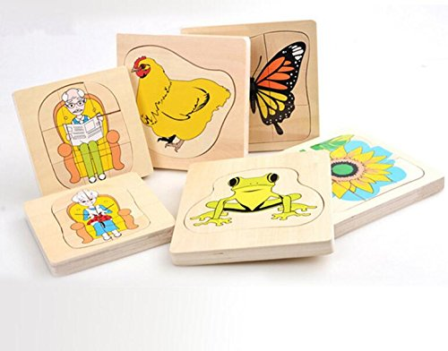 Baby Toddler Kids Gifts Educational Wooden Multilayer Puzzle Early Learning Number Shapes Color Animal Toy Fantastic Gifts for Kids(Butterfly)