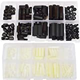M2 M3 Male-Female Nylon Hex Standoff Plastic Thread Motherboard Spacer Prototyping Accessories For PCB, Quadcopter Drone, Computer & Circuit Board Assortment Kit Black White 300Pcs