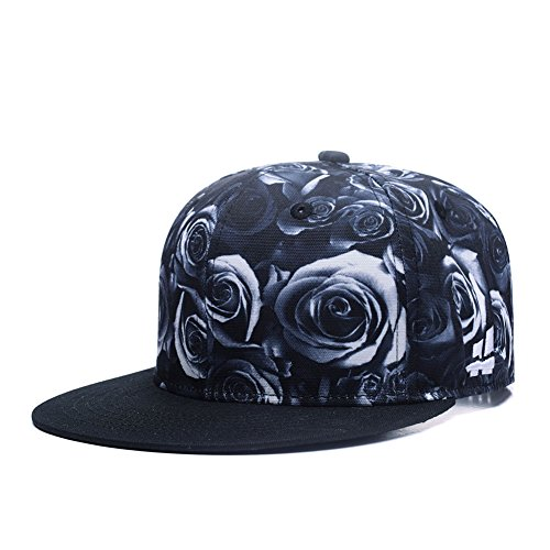 Quanhaigou Premium Floral Black White Rose Twill Adjustable Snapback Hat Hip-Hop Flat Peaked Baseball - Snapback Floral Men's