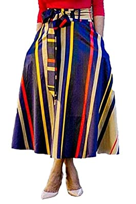GLUDEAR Women's Striped Print High Waist A-Line Belted Long Maxi Skirt with Pockets