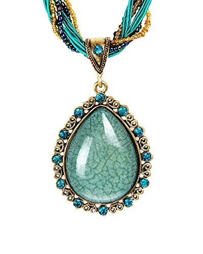Cactus Costume Uk (Retro Bohemian National Style Cat's Eye Stone Drop Shape Necklace Pendant A2)