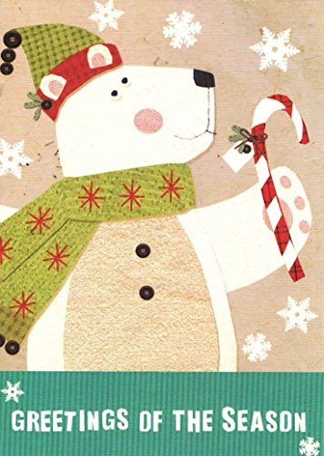 Classic Christmas Card 9 Pack ~ Greetings of the Season (Polar Bear with Candy Cane; 5