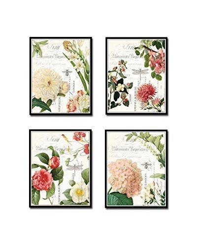 Spring Study French Botanical Collage Print Set of 4 Giclee Fine Art Prints - Unframed