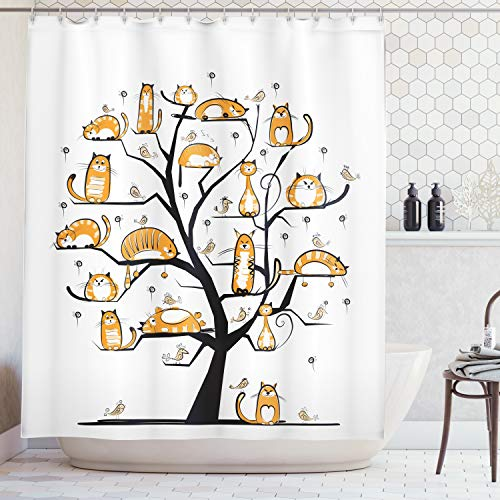 (Ambesonne Cat Lover Decor Collection, Cat Family Tree With Birds Crowd Fluffy Nature Purebred Creative Humorous Funny Art, Polyester Fabric Bathroom Shower Curtain, 84 Inches Extra Long, Mustard Black)