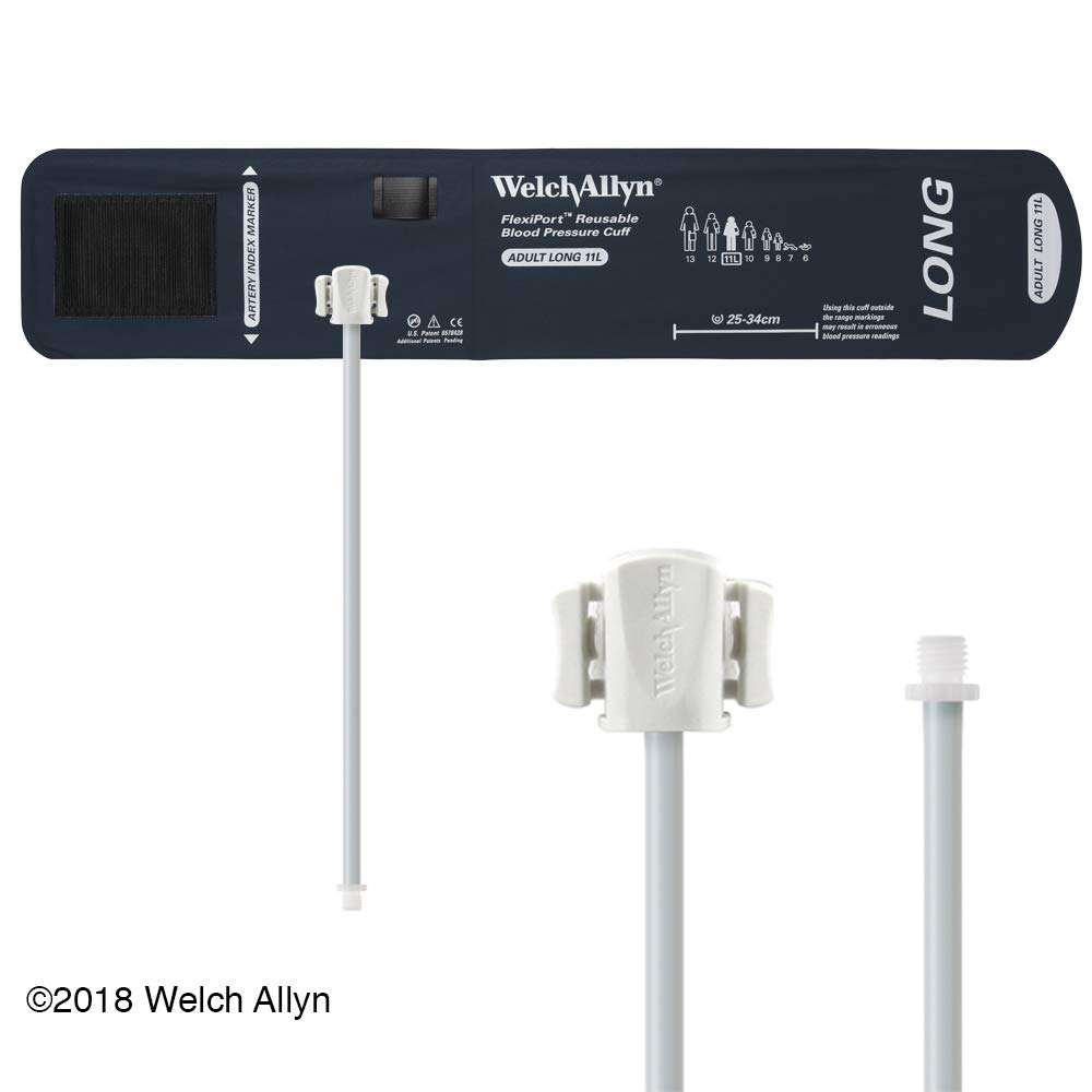 Welch Allyn FlexiPort Blood Pressure Cuff; Size-11 Adult, Reusable, 1-Tube, Male Screw (#5082-164) Connector; range 25-34 cm