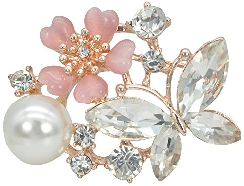 Gyn&Joy 3D Pink Flower Clear Crystal Rhinestone Butterfly Brooch Pin with Faux Pearl Jewelry BZ090